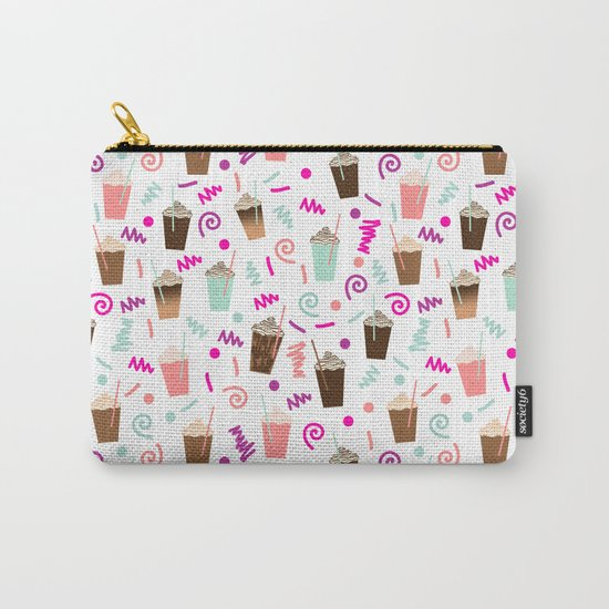 Coffee party retro swirl zig zag symbols 80s rad neon hot pink iced coffees latte milkshake food Carry-All Pouch