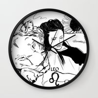 leo Wall Clocks featuring Leo by Cassandra Jean