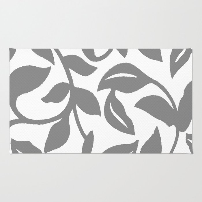 LEAF PALM SWIRL IN GRAY AND WHITE Rug