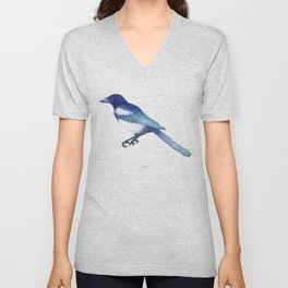 Magpie (Pica pica) - blue and turquoise Unisex V-Neck