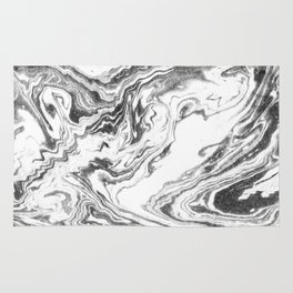 Yoshiko - spilled ink black and white marble marbled painting watercolor marbling minimal modern  Rug