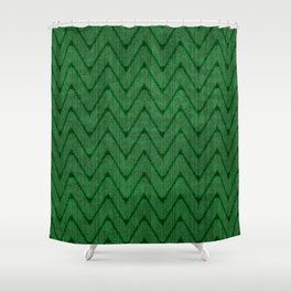 Faux Suede Kelly Green Chevron Pattern Shower Curtain