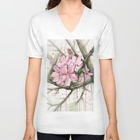 cherry blossom V-neck T-shirts featuring Cherry Blossom by Olechka