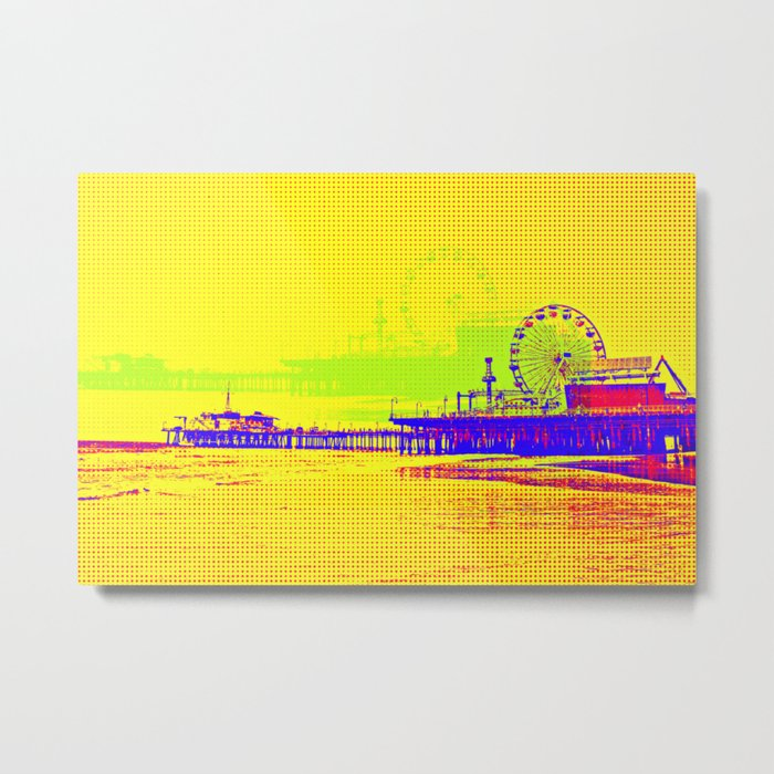 Yellow Pop Art Santa Monica Pier Metal Print by Christine aka stine1