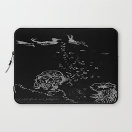 Two Tailed Duck and Jellyfish Black and Dark Deep Sea Laptop Sleeve
