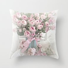 Pastel Roses In Vase - Shabby Chic Roses Pink Aqua Floral Print Home Decor Throw Pillow