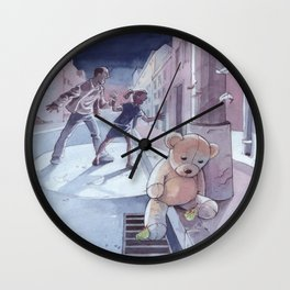 Danger in the night - The teddy bear does not speak ... Wall Clock