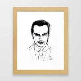 Andrew Scott as Jim Moriarty from Sherlock Etching Framed Art Print