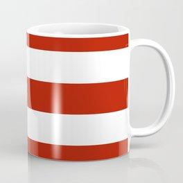 Tomato sauce - solid color - white stripes pattern Coffee Mug