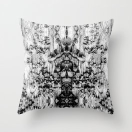 black white wood and creeping vine pattern Throw Pillow