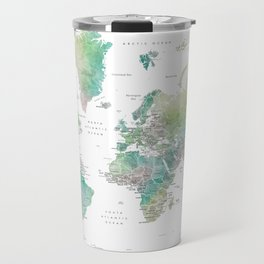 Watercolor world map in muted green and brown, with country capitals Travel Mug