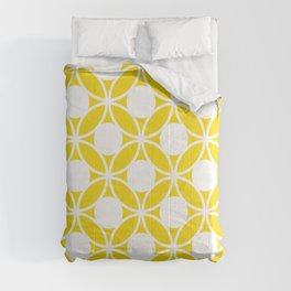 Geometric Floral Circles Summer Sun Shine White on Bright Yellow Comforters