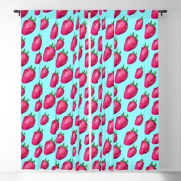 Fun Summery Strawberry Print With Light Blue Background! (Small Scale) Blackout Curtain