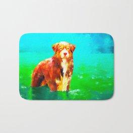 Dog in Water Bath Mat