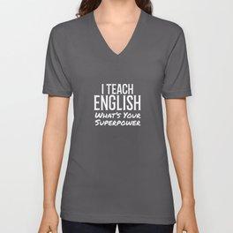 English Teacher Superpower Gift Unisex V-Neck