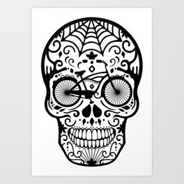 Vintage Mexican Skull with Bicycle - black and white Art Print