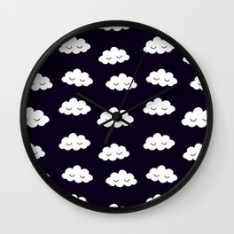 Sleeping cute clouds in black and white Wall Clock