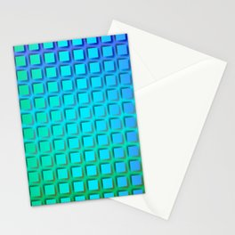 Turquoise Squares Pattern Stationery Cards