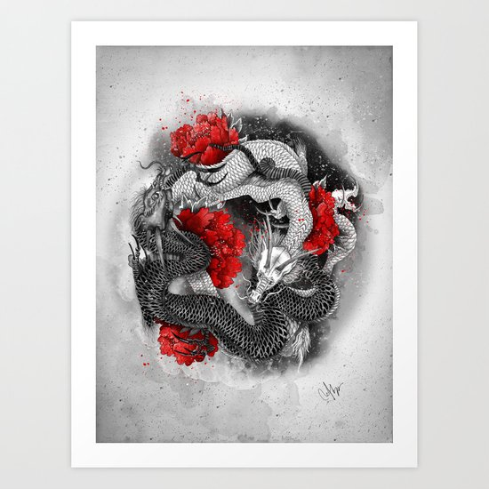 Two dragons Art Print