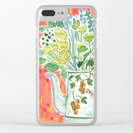 Think Happy Floral Clear iPhone Case