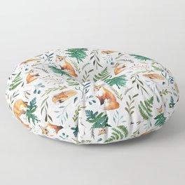 Foxes and Ferns Pattern Floor Pillow