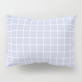 Light periwinkle - grey color -  White Lines Grid Pattern Pillow Sham