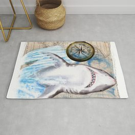 Great White Shark Compass Vintage Map Rug