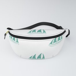 Green Blue Sailboat Pattern Fanny Pack