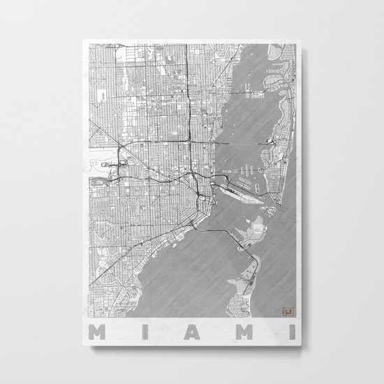 Miami Map Line Metal Print