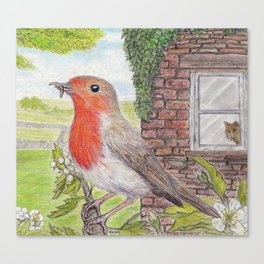 Robin Redbreast and Ginger Tom Canvas Print
