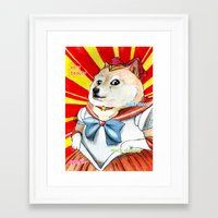 doge Framed Art Prints featuring Sailor Doge by Michael Thomas Grant