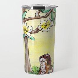 Fox and Bassett Hound Under Magnolia Tree Travel Mug
