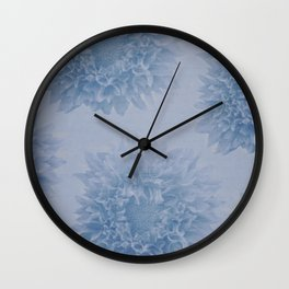 PENSIVE dusty pale blue floral nostalgic pattern Wall Clock