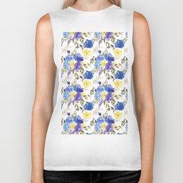 Pastel yellow blue lavender watercolor elegant floral Biker Tank