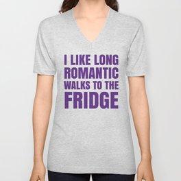 I LIKE LONG ROMANTIC WALKS TO THE FRIDGE (Purple) Unisex V-Neck