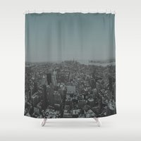 manhattan Shower Curtains featuring Manhattan by Leah Flores