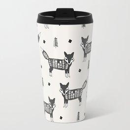 Foxes scandinavian minimal winter christmas neutral pattern by andrea lauren Travel Mug