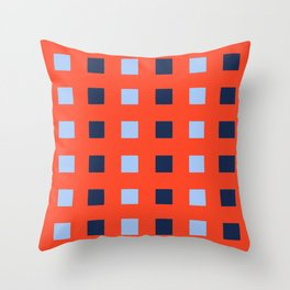 Geometric abstraction: dark and light cobalt blue squares on scarlet red Throw Pillow