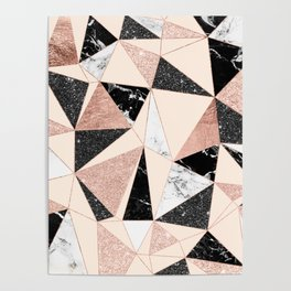Modern black white marble rose gold glitter foil geometric abstract triangles pattern Poster
