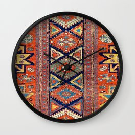 Southwestern Farmhouse II // 19th Century Colorful Red Yellow Blue Green Aztec Farm Stars Pattern Wall Clock