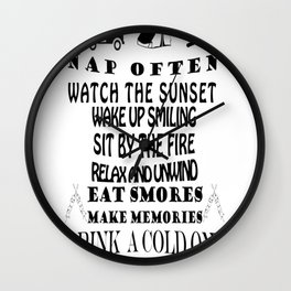 camping rules drink a cold one visit with friends be gratefull Wall Clock
