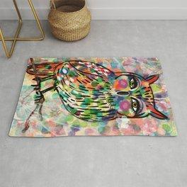 Abstract Owl #1  Mixed Media Rug