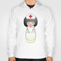 nurse Hoodies featuring Kokeshi Nurse by Pendientera