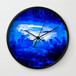 cloudy sky blue turquoise splatter watercolor Wall Clock