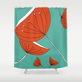 Whimsical Red and Teal Nature Drawing by Emma Freeman Designs Shower Curtain