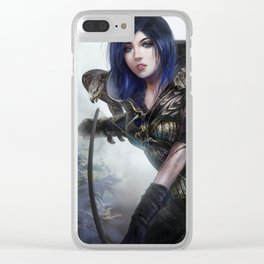 Carry on - Fantasy archer hunter girl with hawk bird Clear iPhone Case