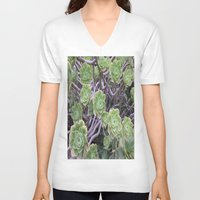 succulents V-neck T-shirts featuring Succulents by AM Prono