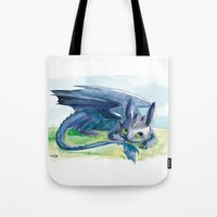 how to train your dragon Tote Bags featuring How to Train Your Dragon - Toothless by PinStripes Studios