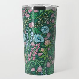 Violet clover and lupine among cornflowers and herbs Travel Mug