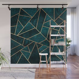 Deep Teal Stone Wall Mural